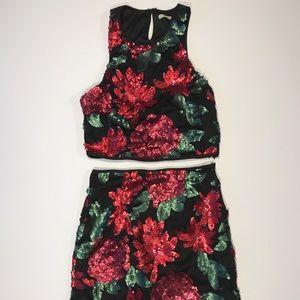 Floral Sequin Two Piece Set